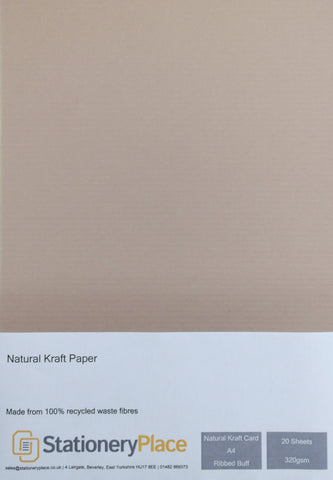 Ribbed Kraft Card Buff - A4 20 SHEETS 320GSM