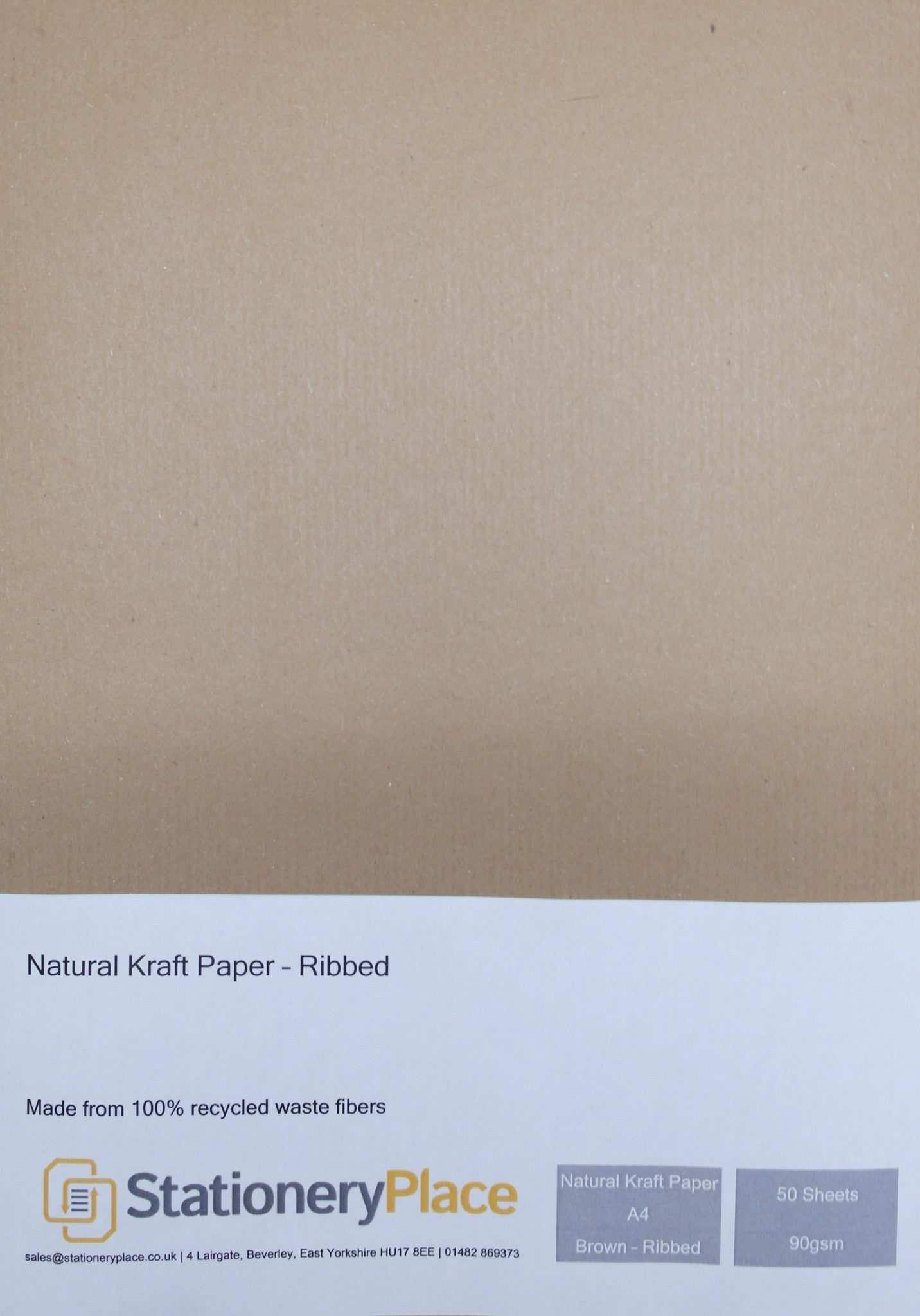 Ribbed  Kraft Paper  Recycled - A4 50 Pack 90 GSM