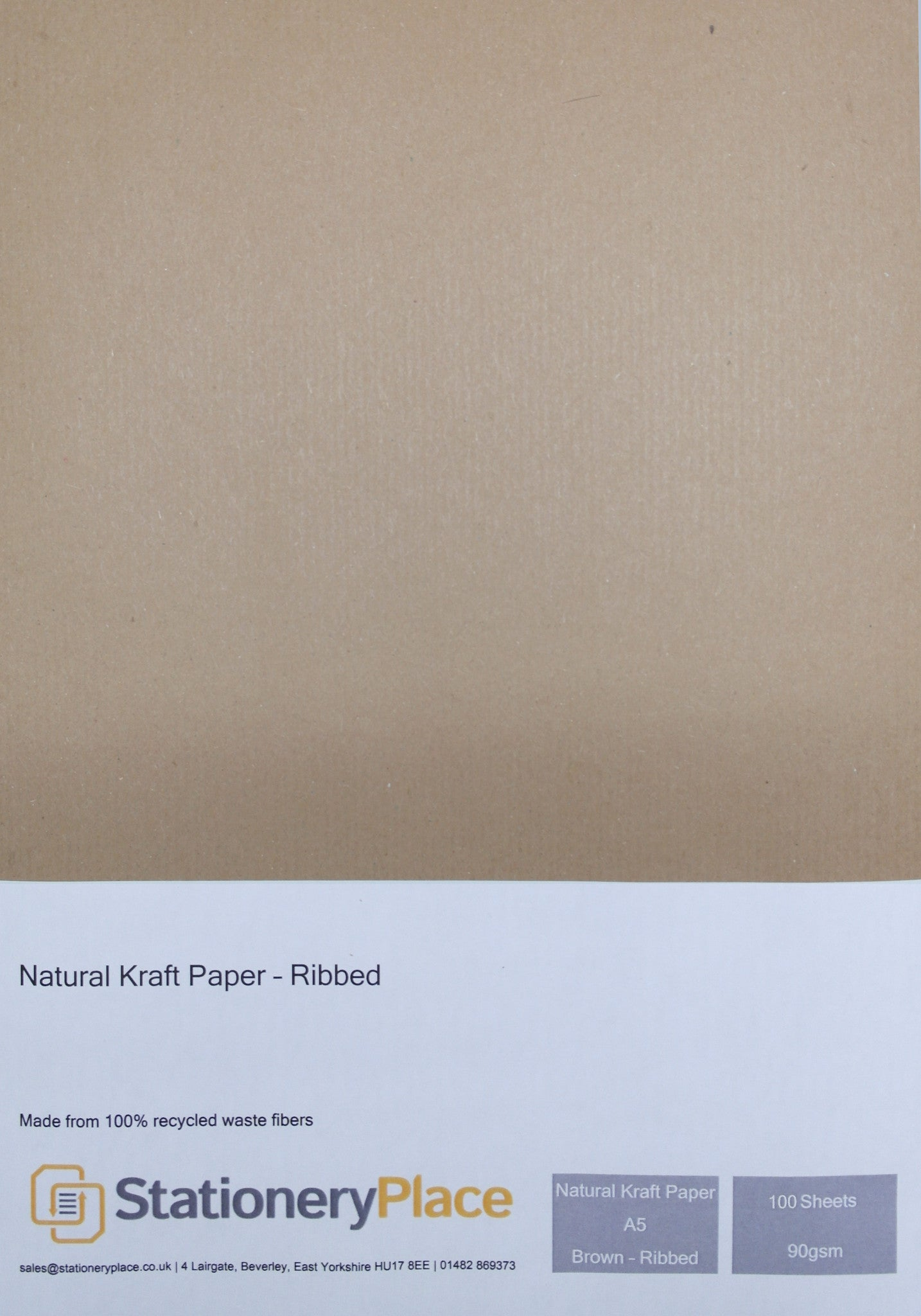 Ribbed Kraft Paper Recycled - A5 100 Pack 90 GSM