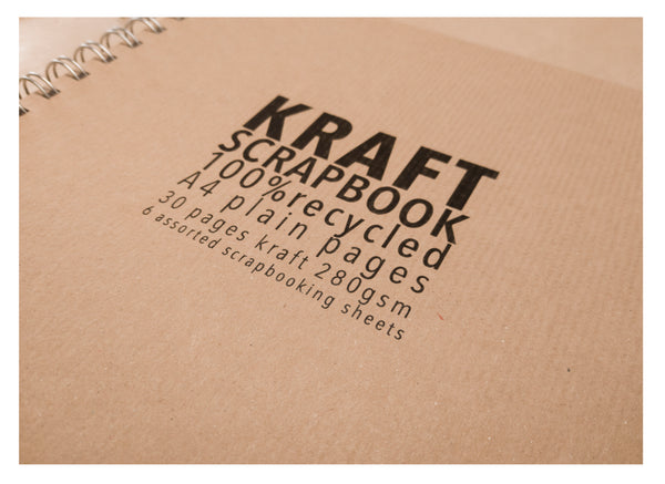 A4 Kraft Scrapbook With Hardback in Portrait Style 100% Recycled