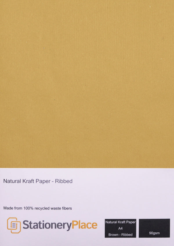 Ribbed Kraft Paper Recycled - A4 100 Pack 90 GSM