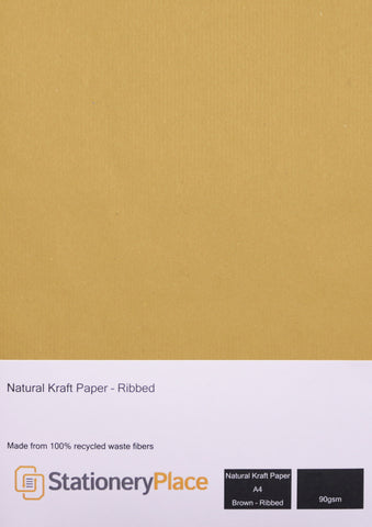 Ribbed Kraft Paper 90 GSM Recycled A4, A5 1 to 100 sheet pack
