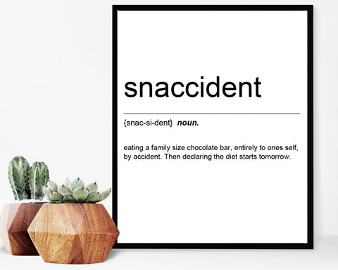 Snaccident Definition Text Print Poster