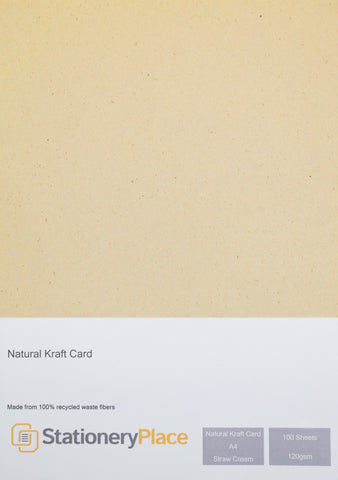 Natural Recycled Straw Cream Kraft Paper by Stationery Place