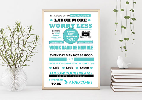 Work Hard Motivational Print Poster