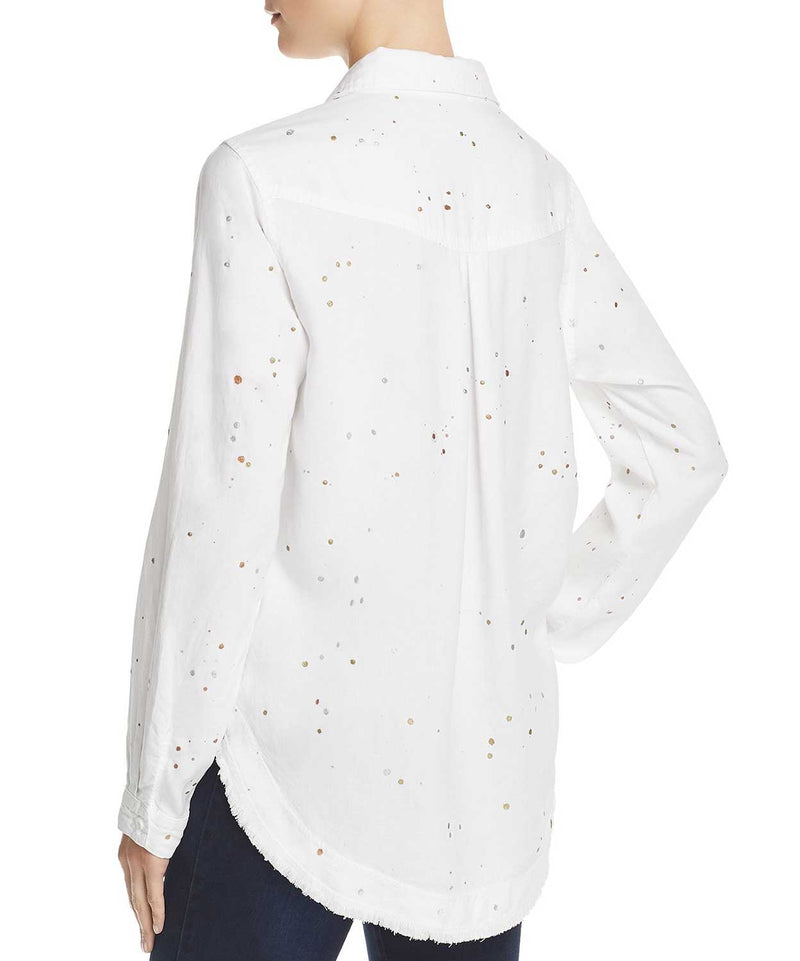 Metallic Splatter Fray Shirt