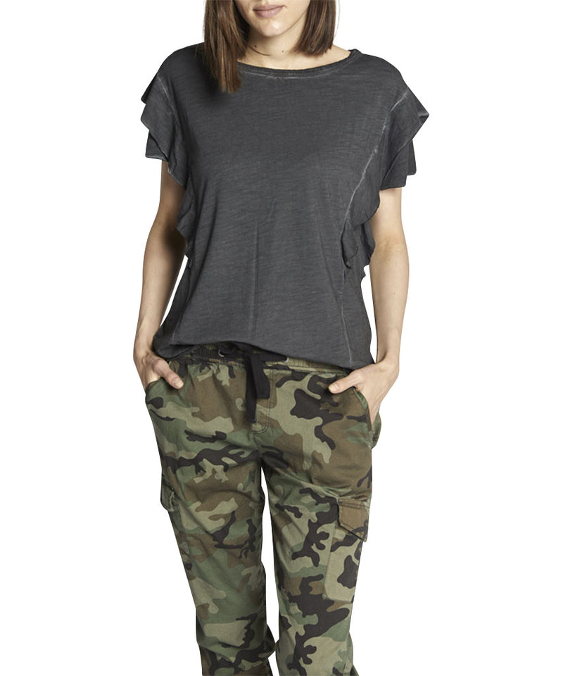 Camina Ruffle Tee, Faded Black