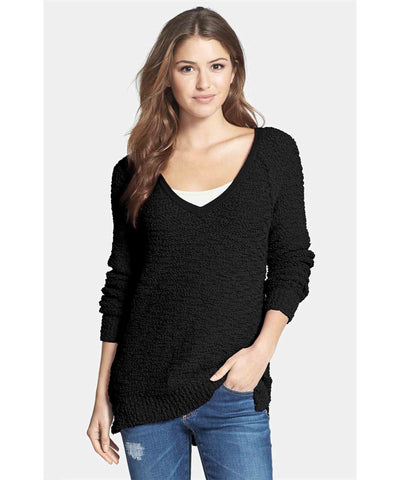 V-Neck Teddy Pullover Black