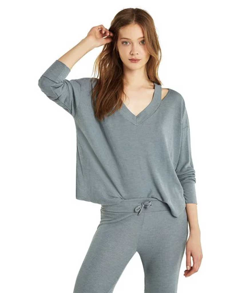 Haley Long Sleeve Thermal Top, Blue