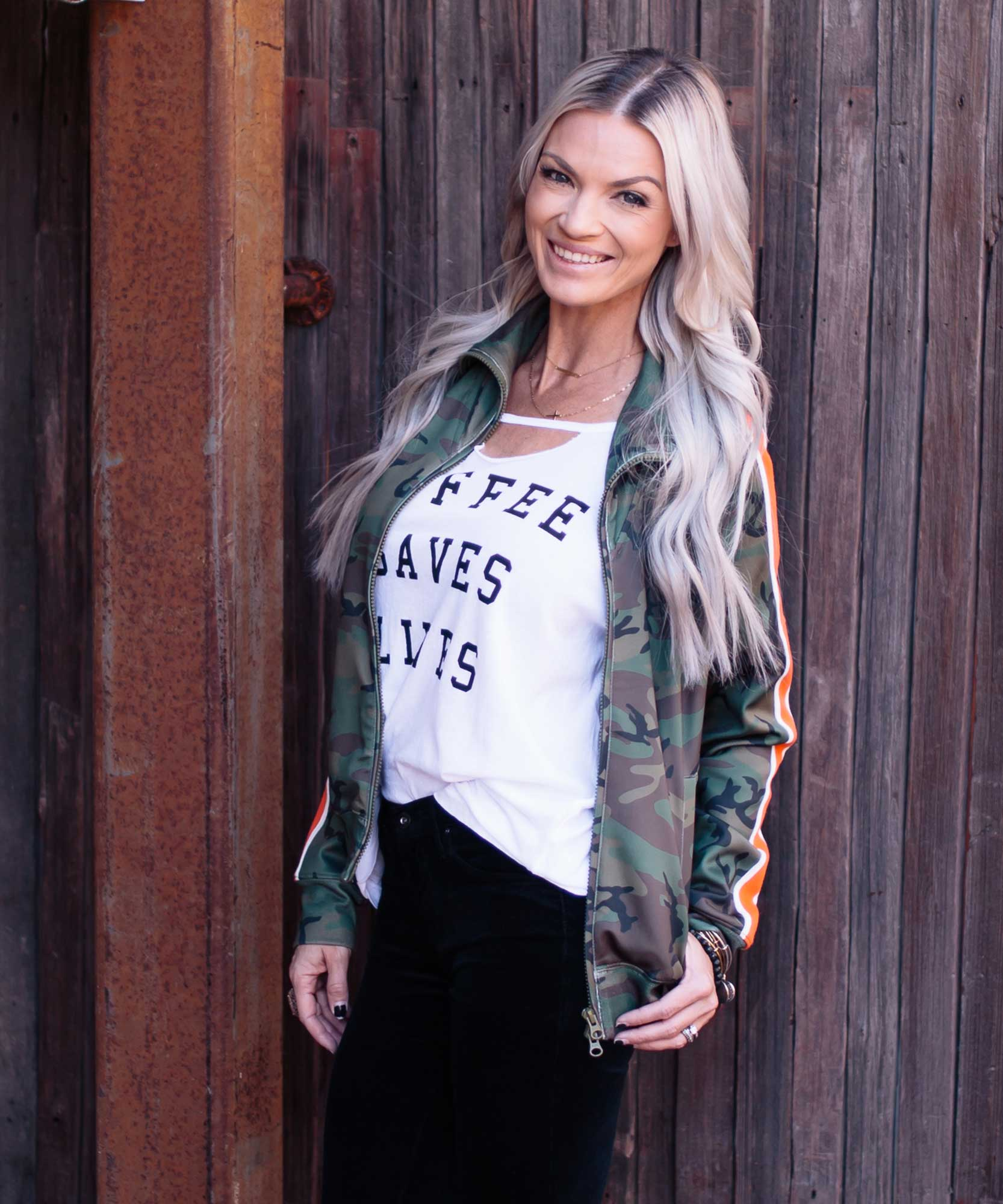 Camo Track Jacket Racing Stripe
