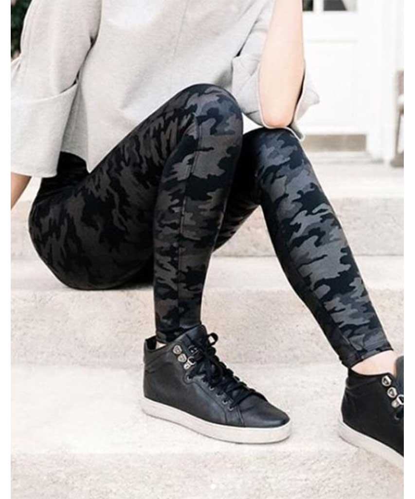 Faux Leather Leggings, Matte Black Camo