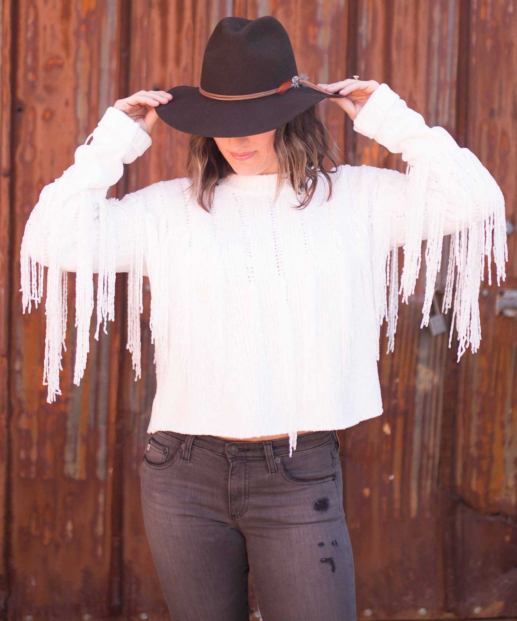 Carlton Crop Fringe Sweater, Alpine Knit