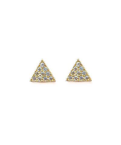 Pave Triangle Stud  Earrings, Melanie Auld,- Pink Arrows Boutique