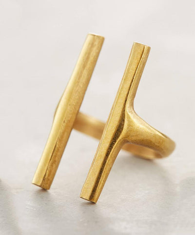 Gold Double Bar Ring  Rings, Soko,- Pink Arrows Boutique