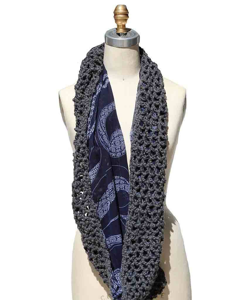 Crochet Reversible Grey Scarf  Scarf, Krochet Kids intl,- Pink Arrows Boutique