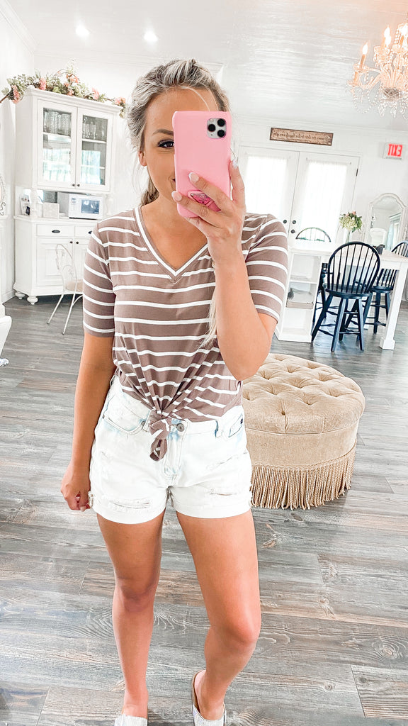 Comfy+Classic Striped Top - Mocha S-3X