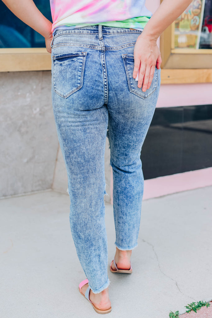Angie Acid Washed Distressed Jeans