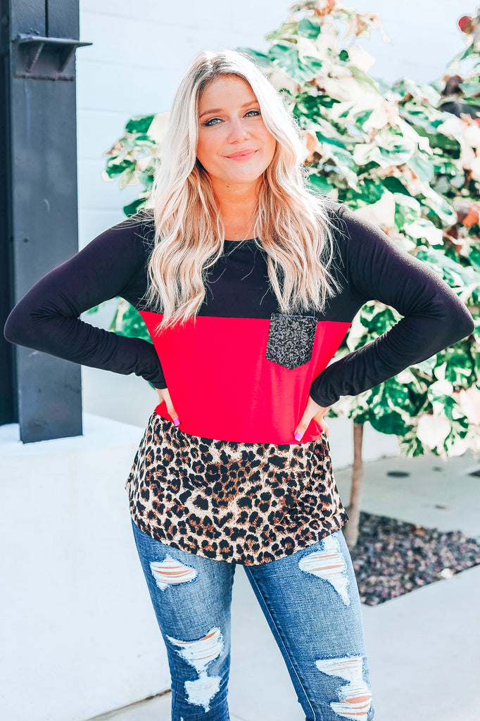 Festive Vibes Color Block Top - Red
