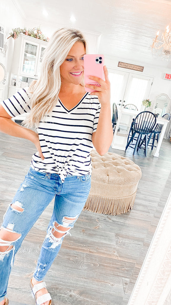 Comfy+Classic Striped Top - Ivory S-3X