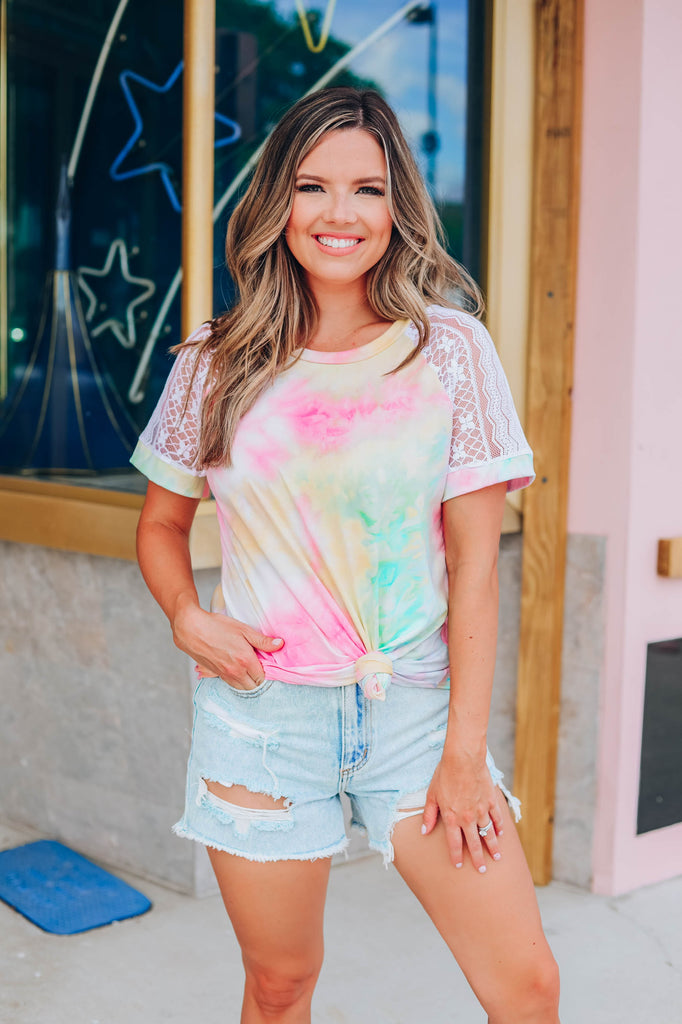 Call You Back Tie Dye Top - Pastel
