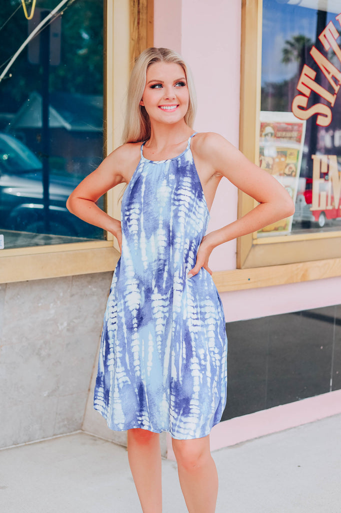 Hues Of Blue Tie Dye Dress