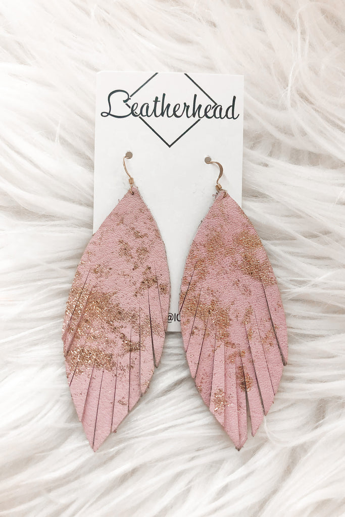 Fab Fringe Leather Earrings - Pink/Gold Metallic