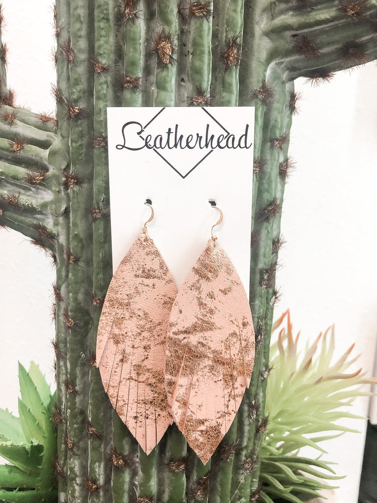 Fab Fringe Leather Earrings - Blush/Gold Metallic