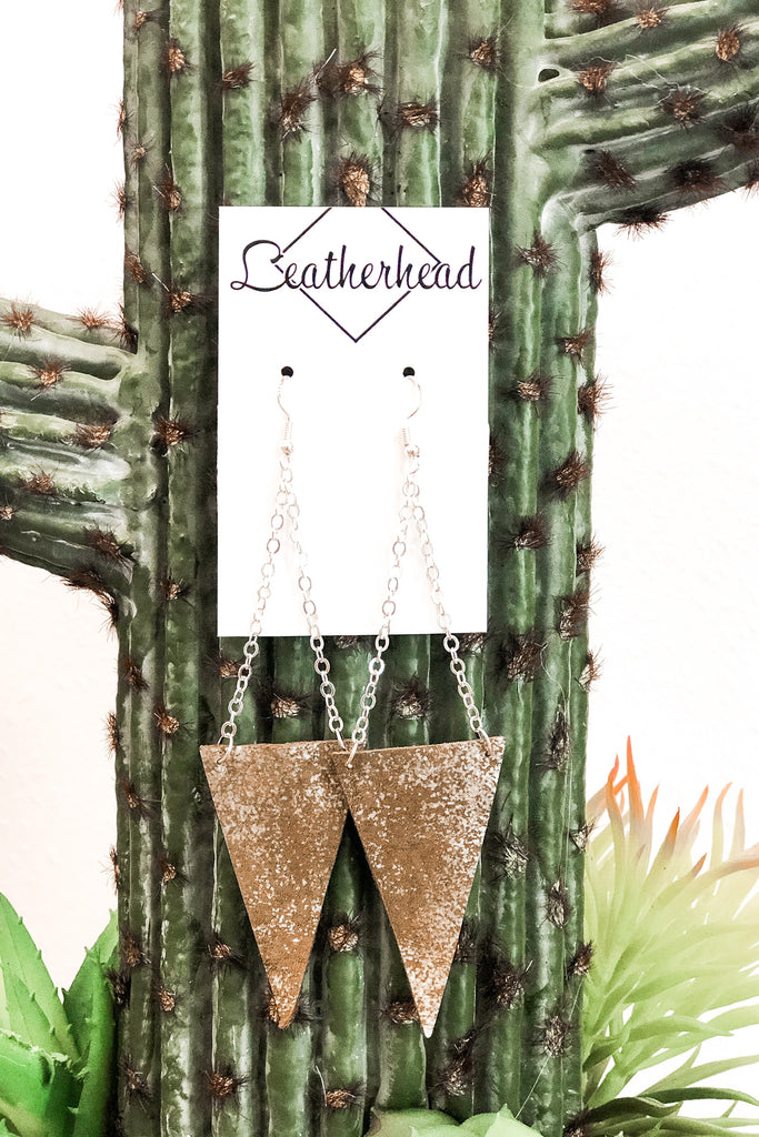 Triangle Dangle Leather Earrings - Silver/Brown