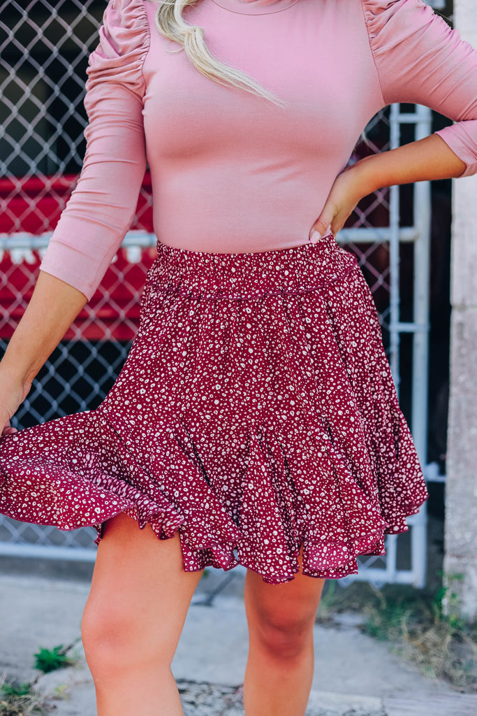 Ditzy Leopard Mini Skirt - Burgundy