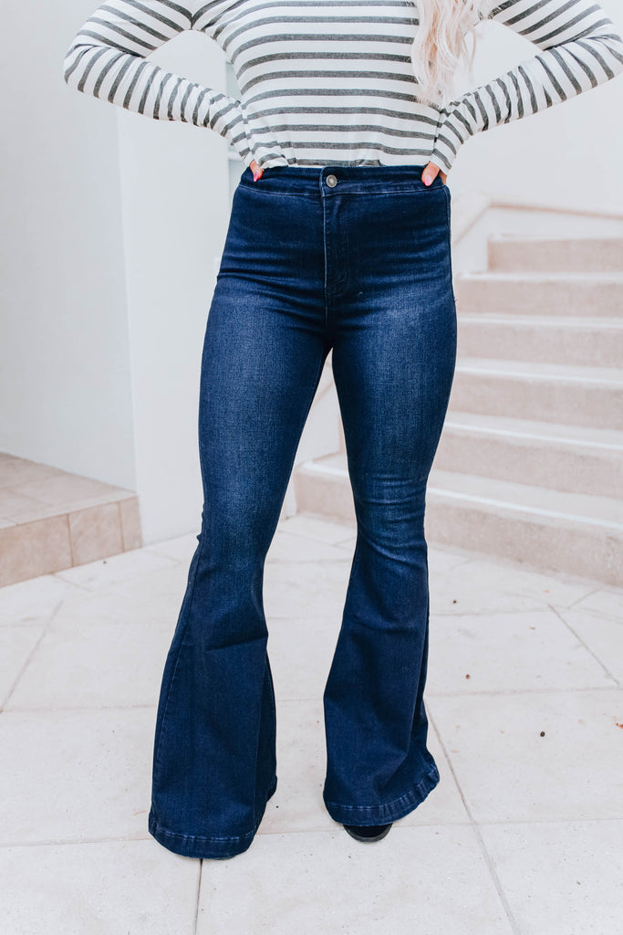 Kallan High Rise Flare Jeans - Dark