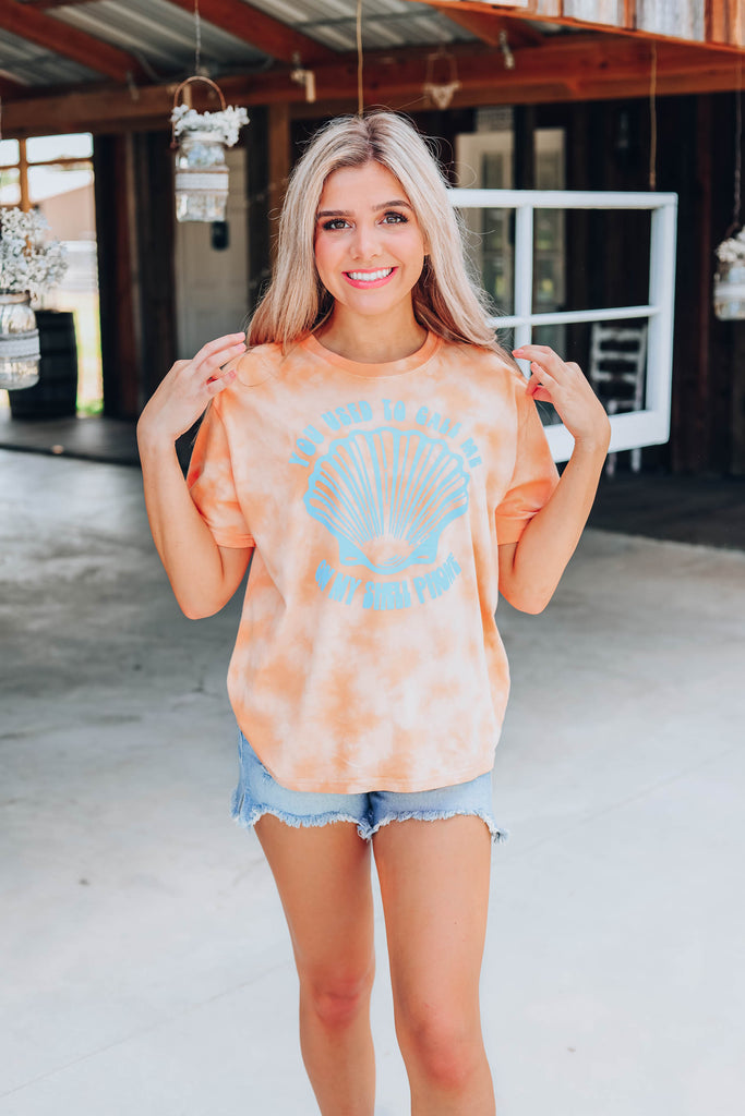 Call Me On My Shell Phone Graphic Tee - Coral