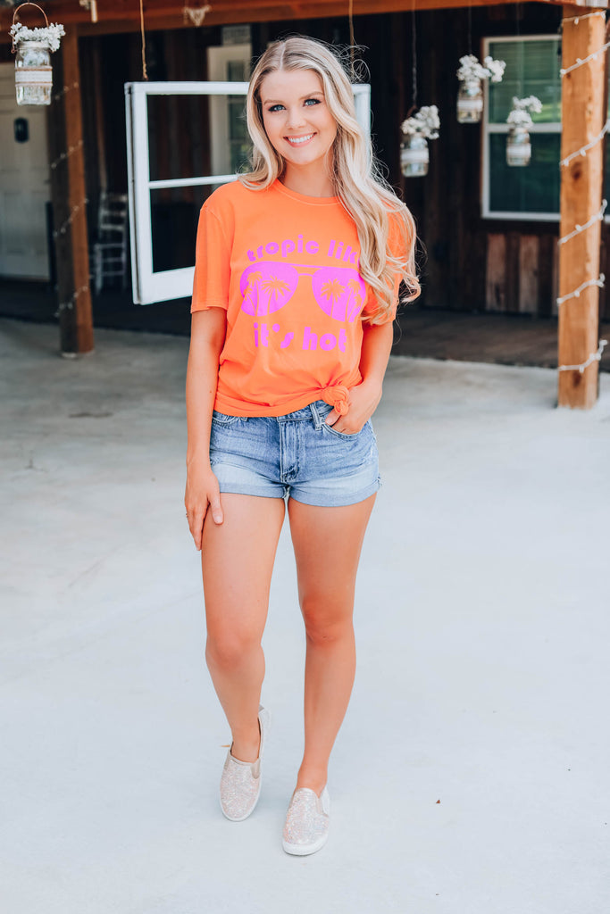 Tropic Like It's Hot Graphic Tee - Orange