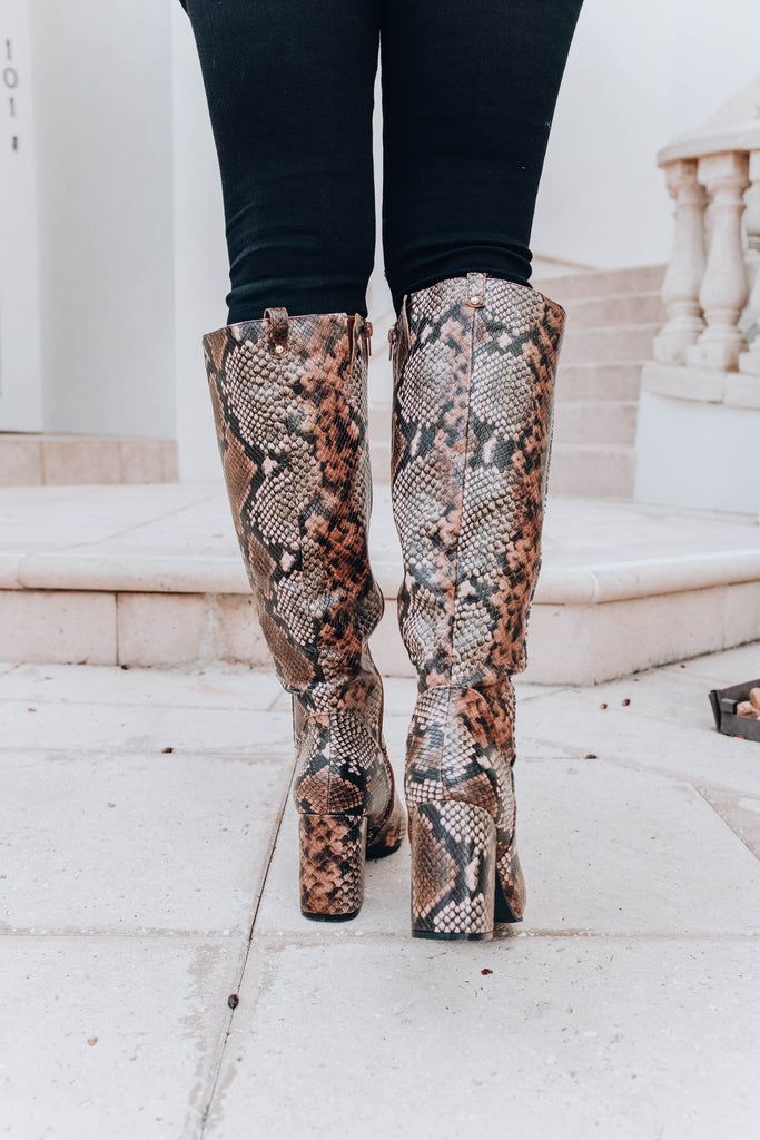 Alice Knee High Boots - Brown Multi