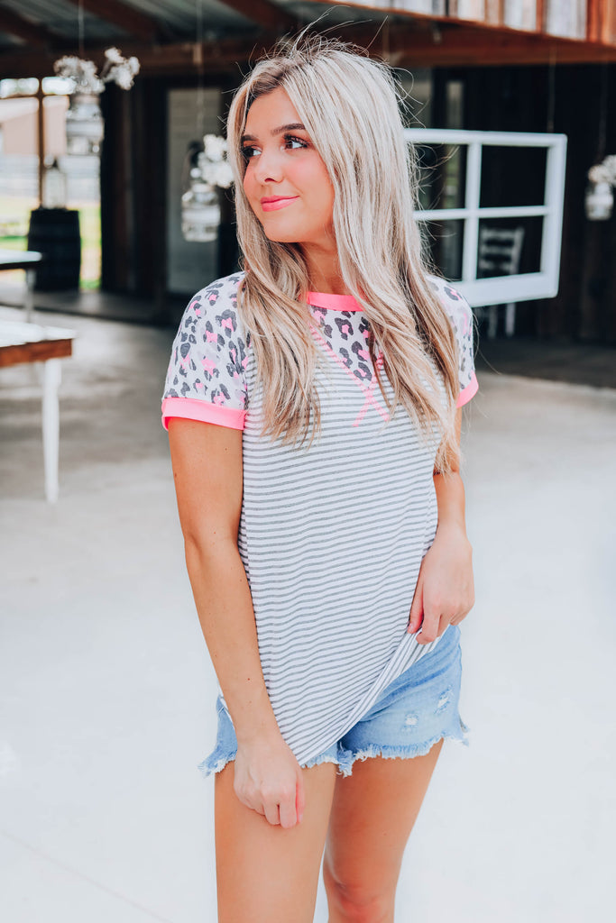 Lively Leopard Neon Top - Pink