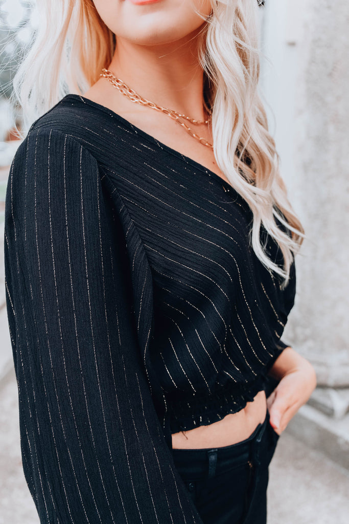 Tinsel Bell Sleeve Crop Top - Black
