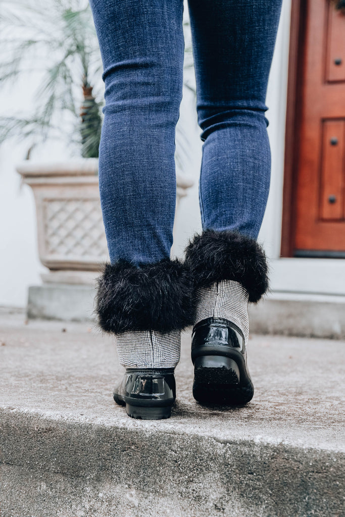 Diamonte Fur Duck Boot - Black