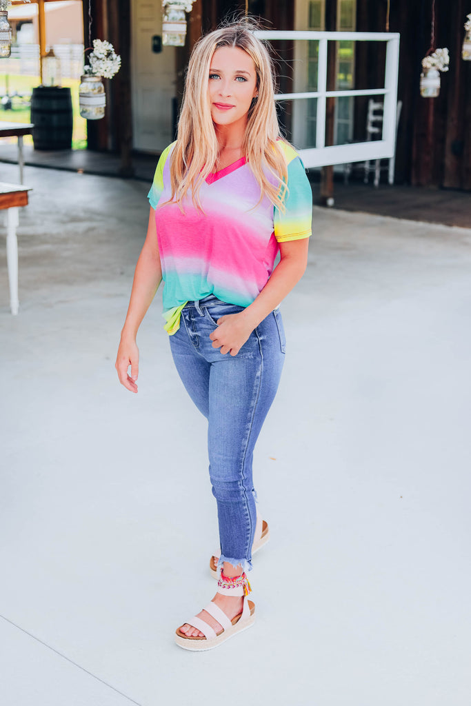 Paradise Crush Ombre Striped Top