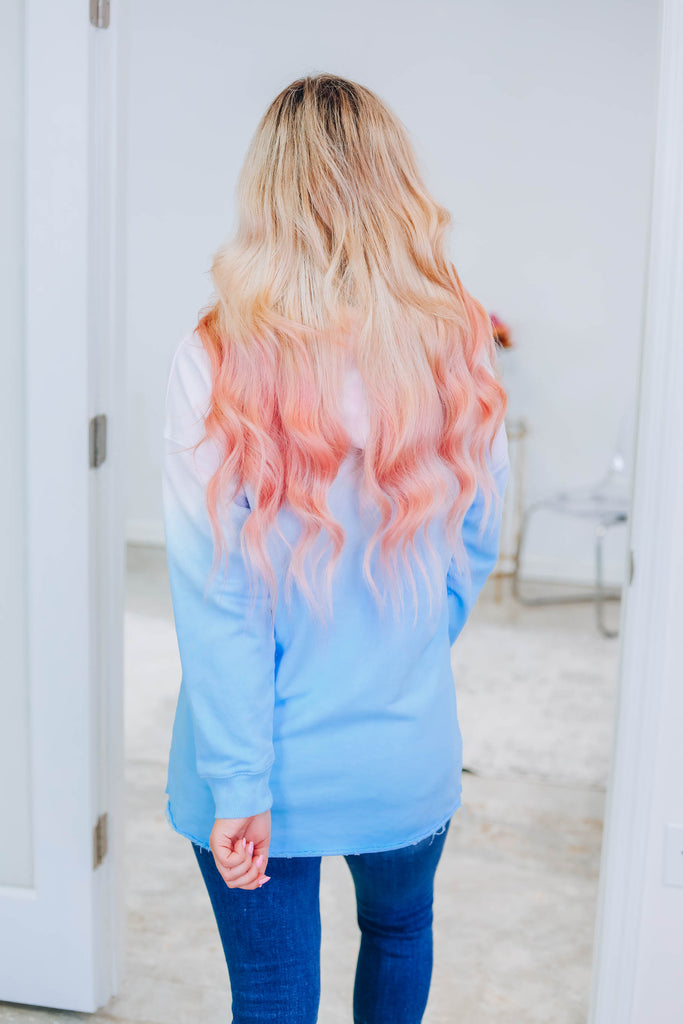 Higher Lover Ombre Hoodie - Sky Blue