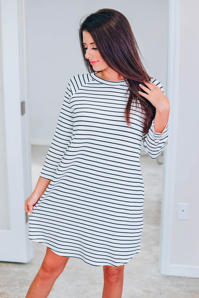 Don't Miss This Striped Dress - Off White