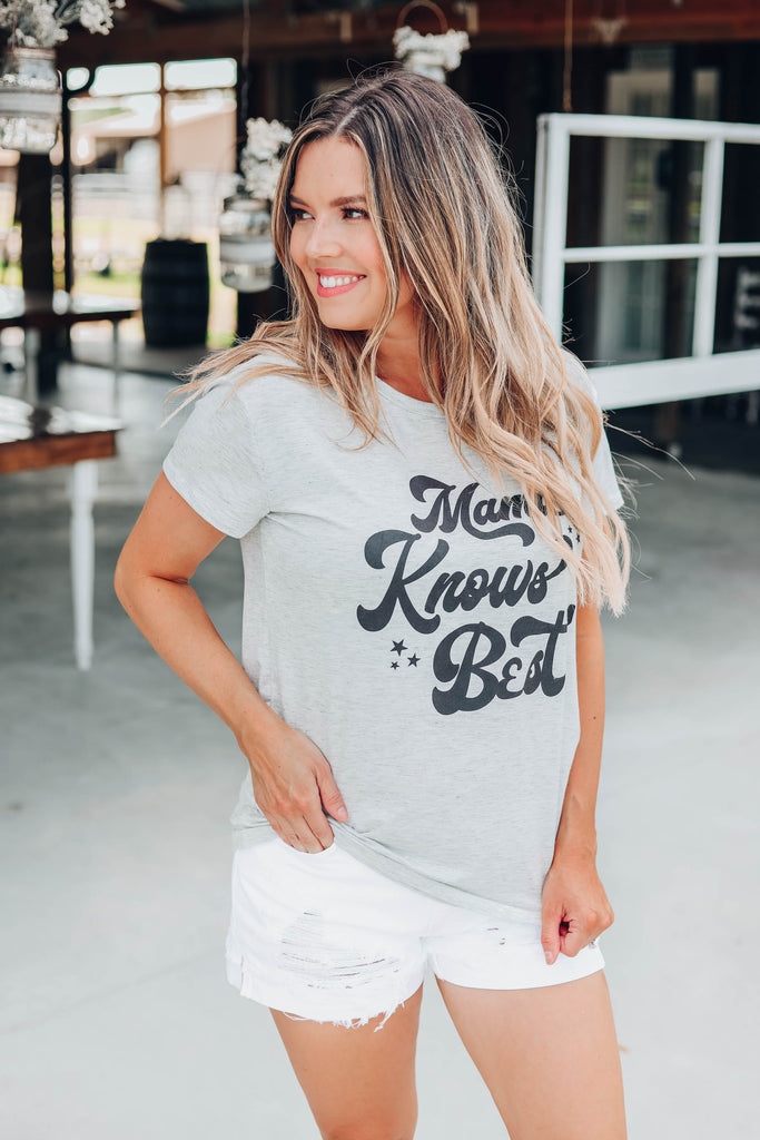 """Mama Knows Best"" Graphic Top"