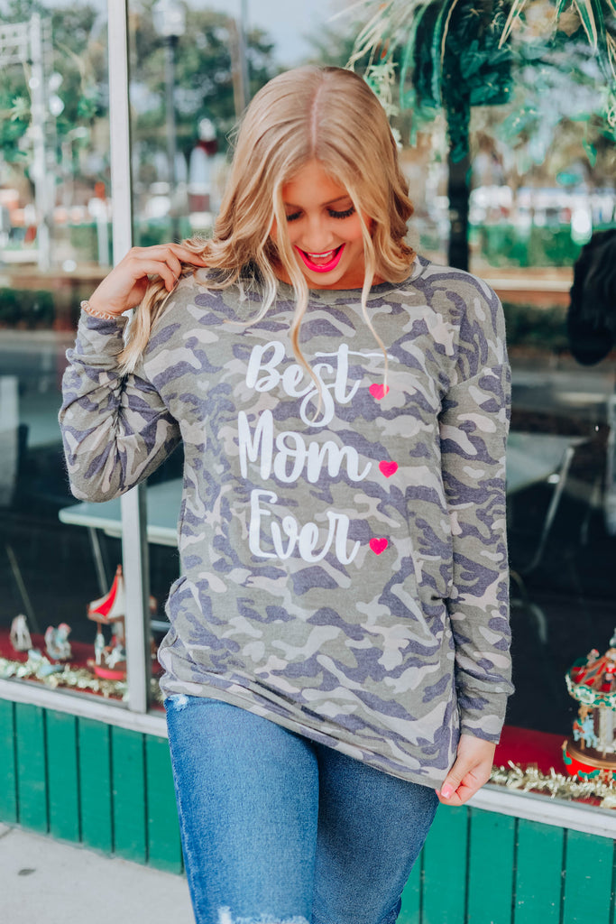 Best Mom Ever Graphic Top - Camo