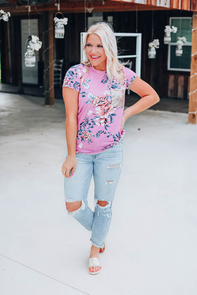 Garden Fresh Floral Top - Mauve