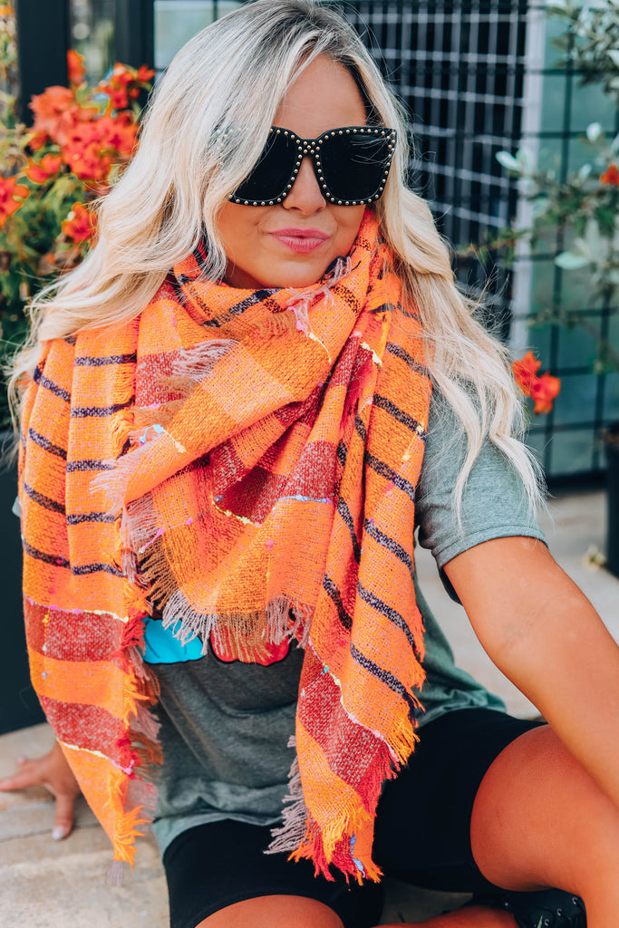 Madras Plaid Blanket Scarf - Orange