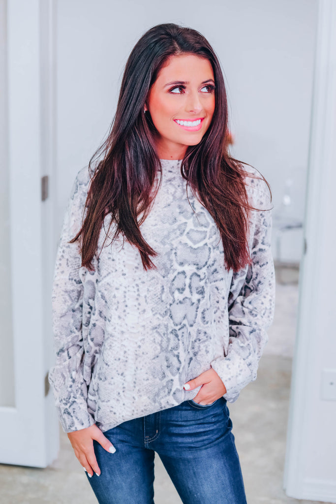 Snuggle Up Snakeskin Top