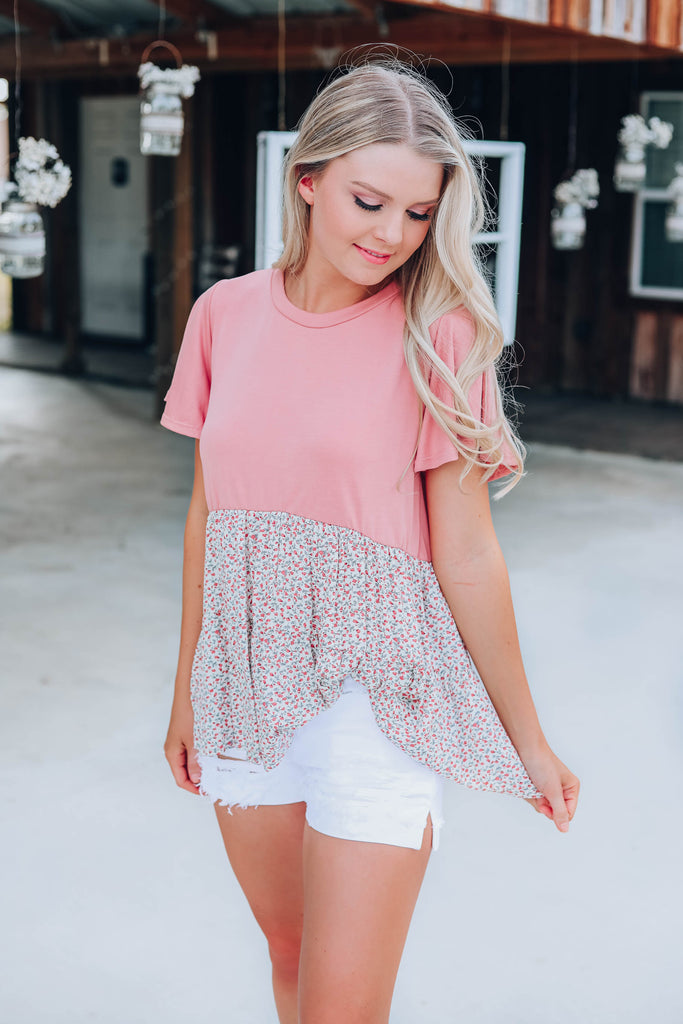 Floral Chic Baby Doll Top - Mauve