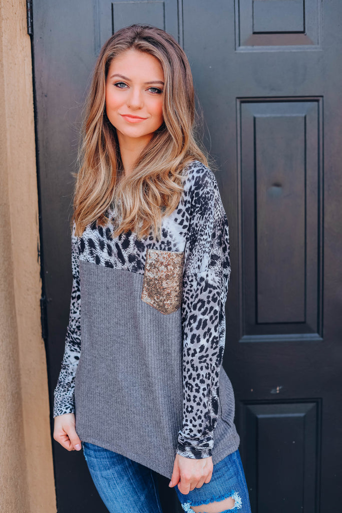 Charcoal Leopard Waffle Knit Top