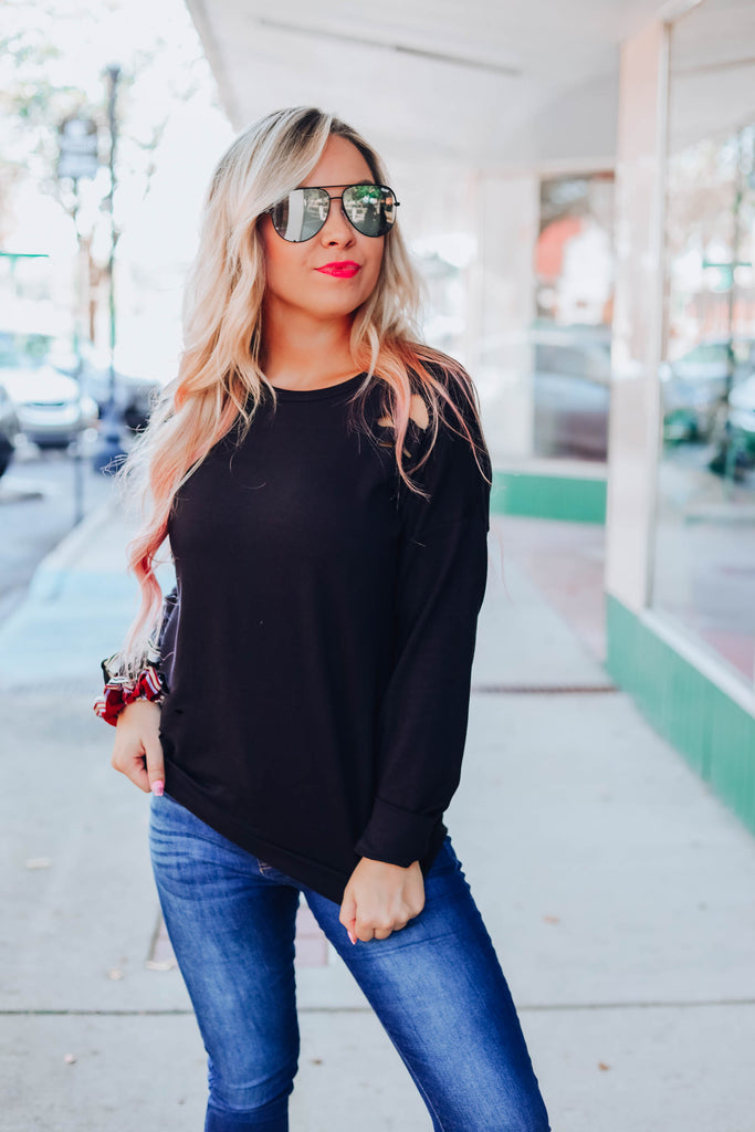 Live A Little Distressed Pullover - Black