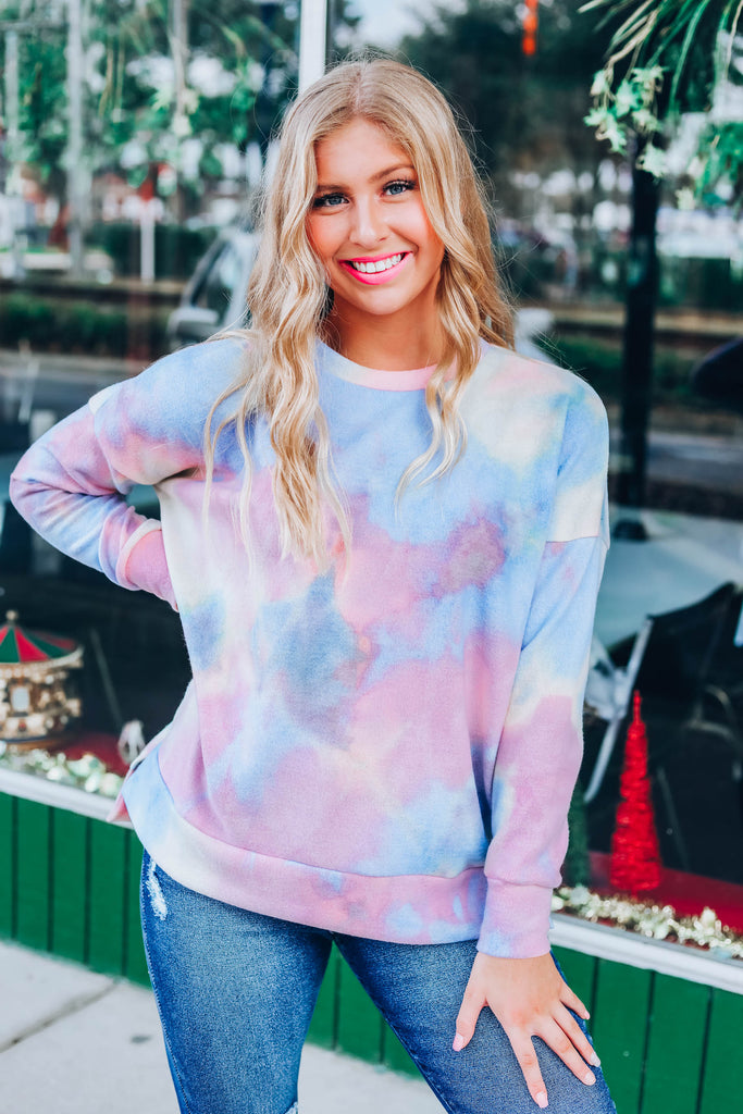 Cozy Obsession Top - Pink/Blue