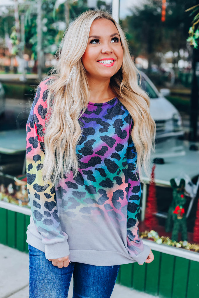 Stormy Sky Leopard Top - Fuchsia/Purple