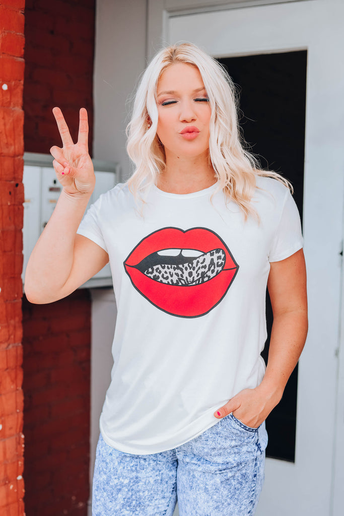 Ruby Red Lip Leopard Tongue Tee